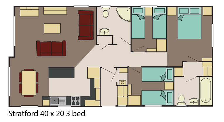 Stratford 40x20 3 bed layout